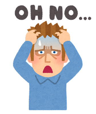 「OH NO...」と嘆く白人男性のイラスト