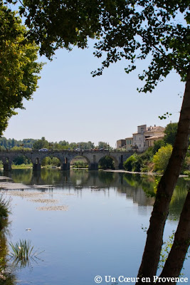 The medieval town of Sommières and the Vidourle river