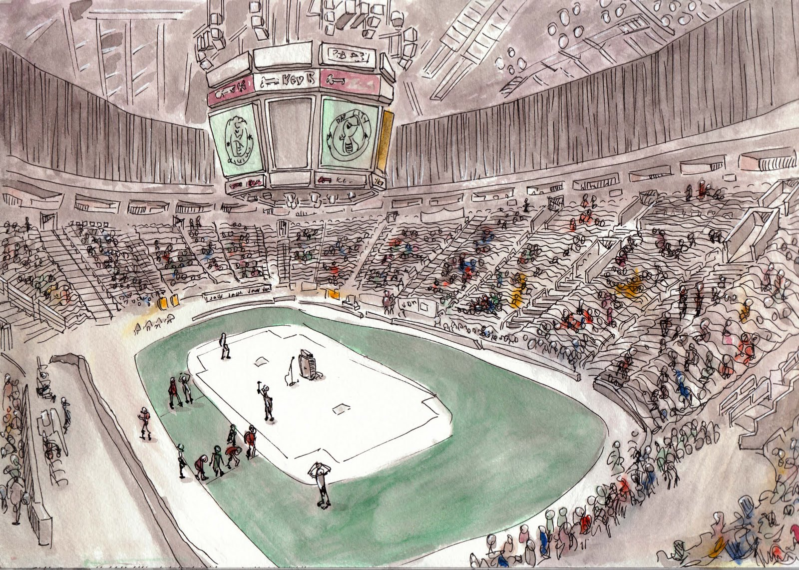 Seattle Arena Drawings Roller Girls at Key Arena