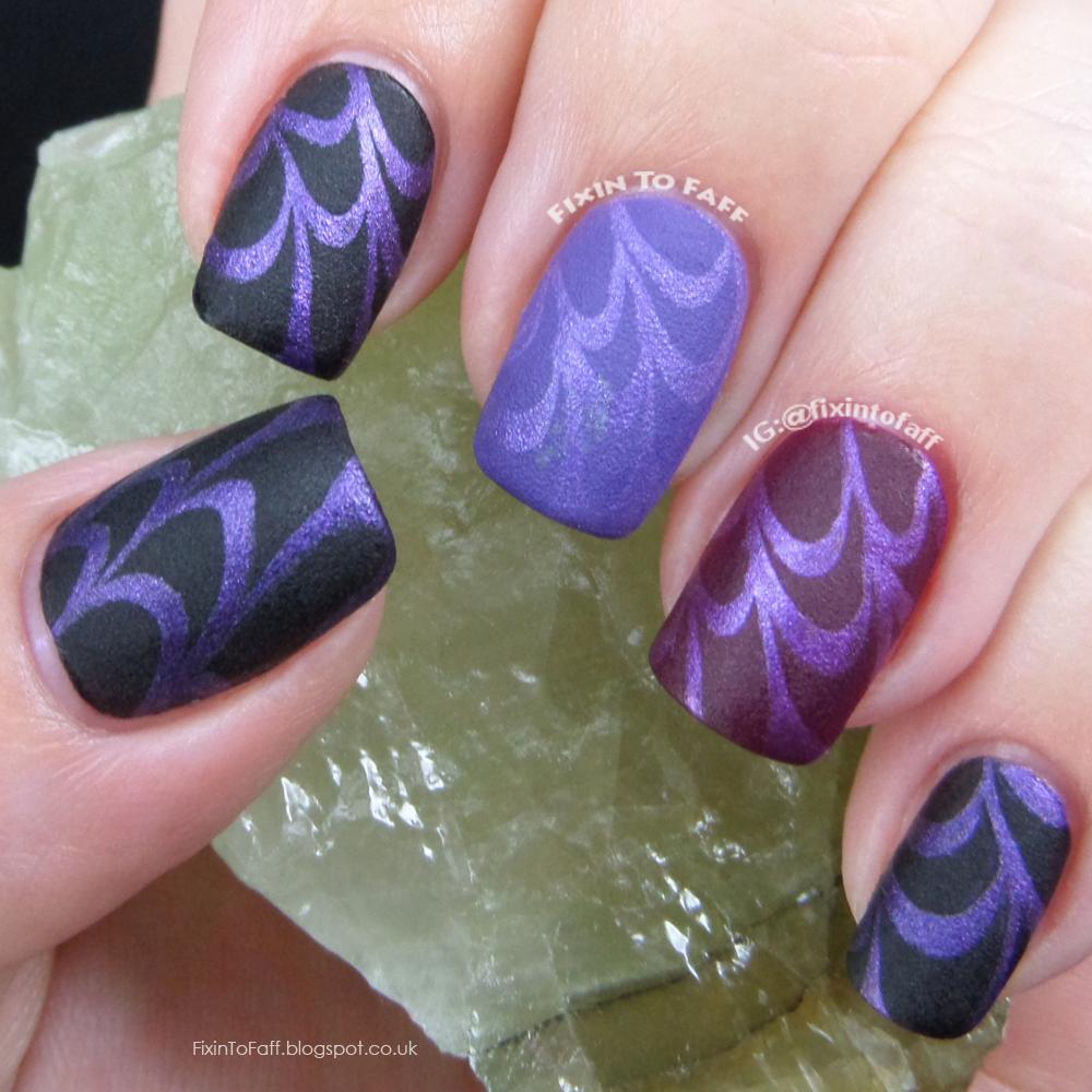 Iridescent stamping over velvet matte texture polish.
