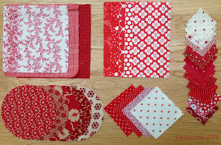 Red and White Fabric Charm Squares