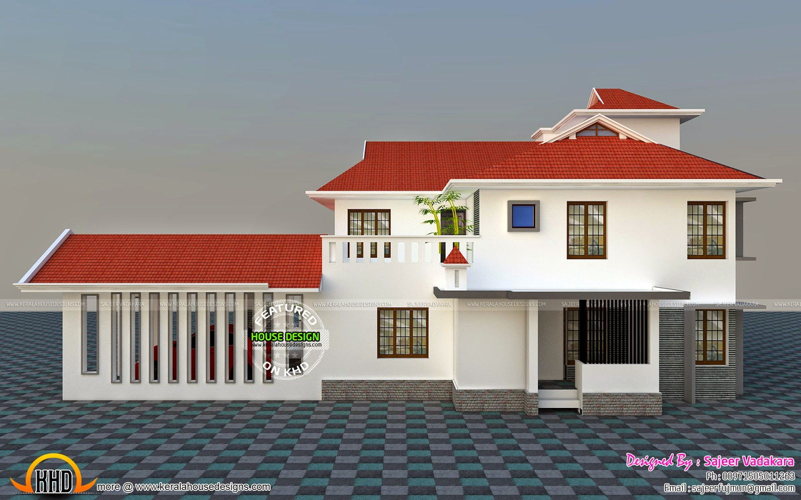 House all side view rendering kerala home design and for Building houses with side views