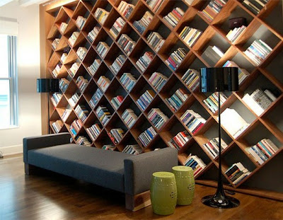 diagonal bookshelves