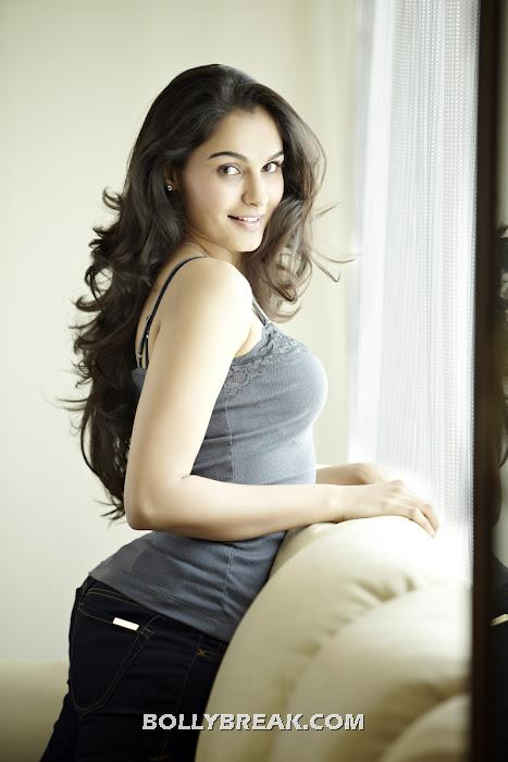 Andrea in casual grey tank top and jeans -  Andrea photoshoot pics -hot babe