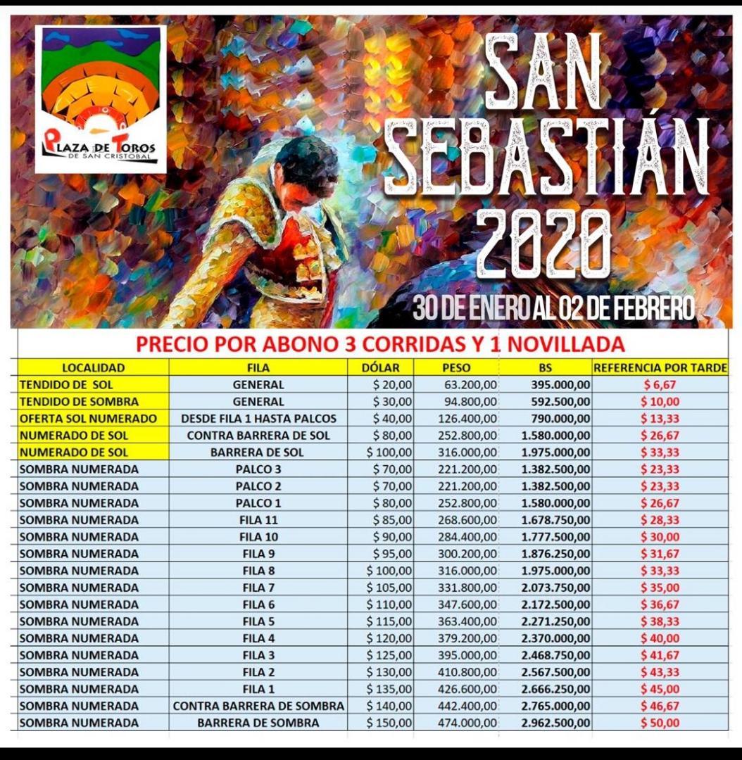 PRECIO DE ABONOS DE LA FISS 2020