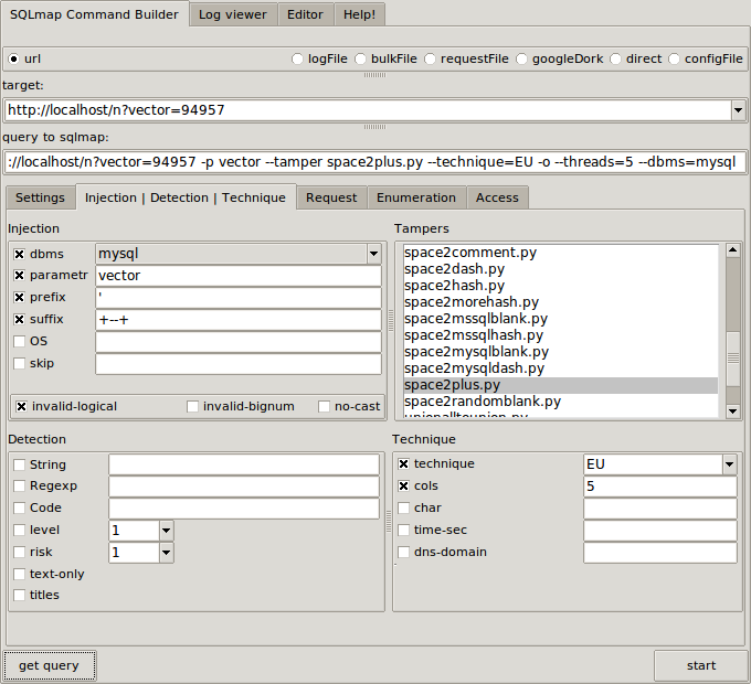Sqlmap gui sql injection tool hackers authority - Sql injection drop table example ...