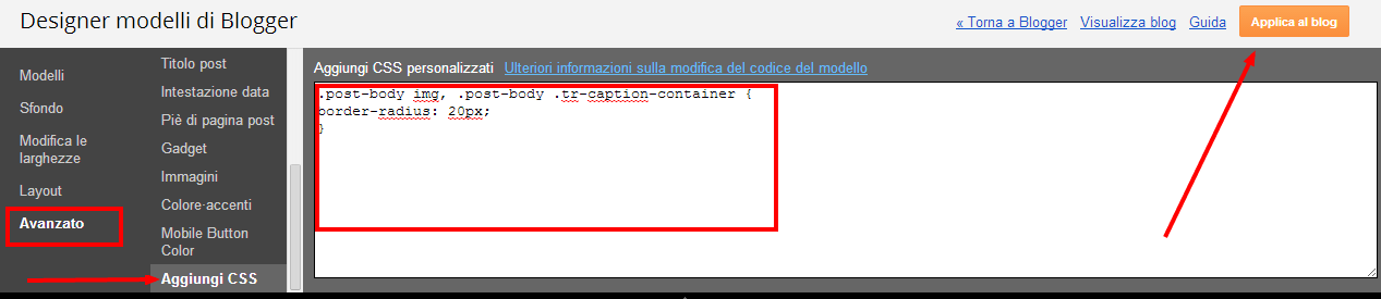 Come arrotondare bordi rotondi foto immagini blog blogger css