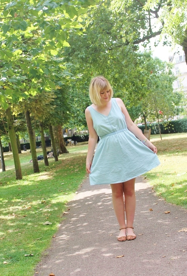 Little Miss Katy blue dress and tan sandals