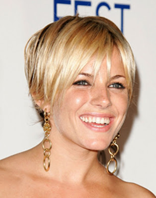 Sienna Miller Short Hairstyle Shimmering Blonde Highlights