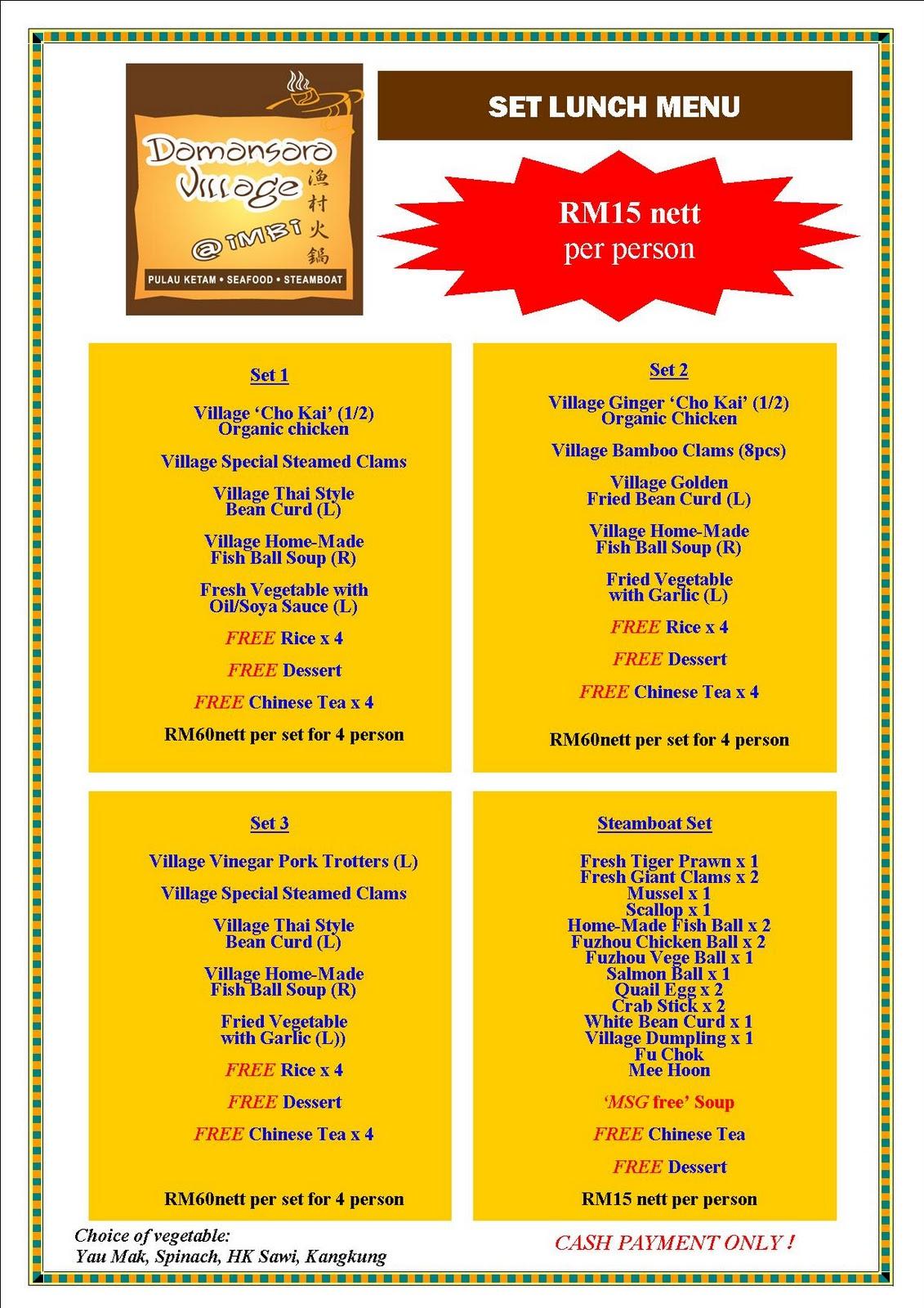 The damansara village steamboat restaurants petaling jaya for Table 9 menu