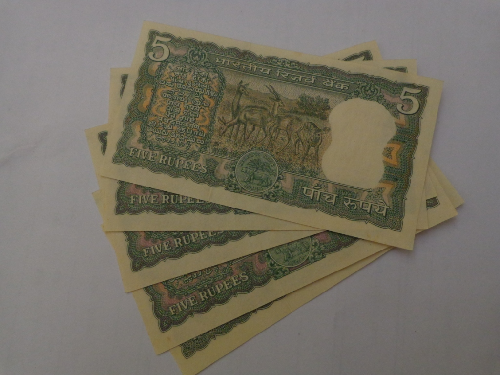 Rupee Note Four Deer Note Five Rupee Unc