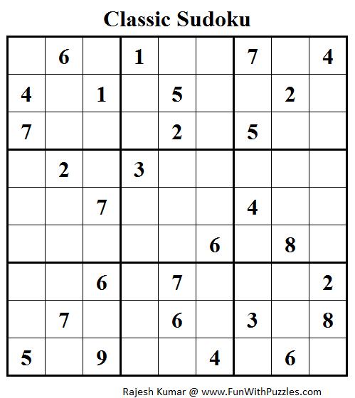 Standard Sudoku (Fun With Sudoku #39)