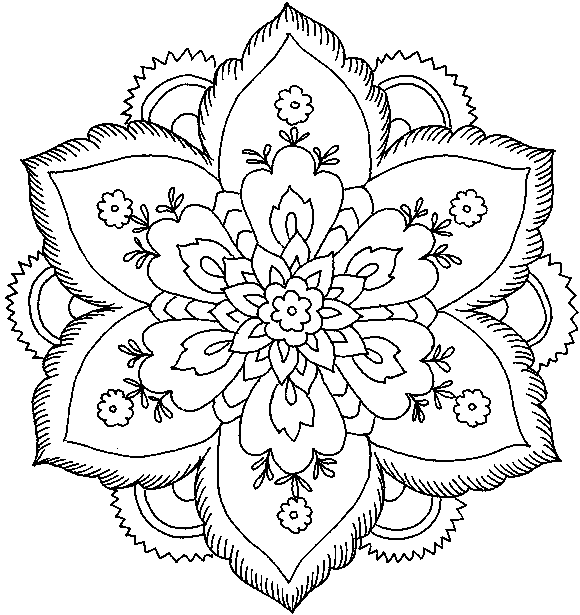Hard Flower Coloring Pages title=