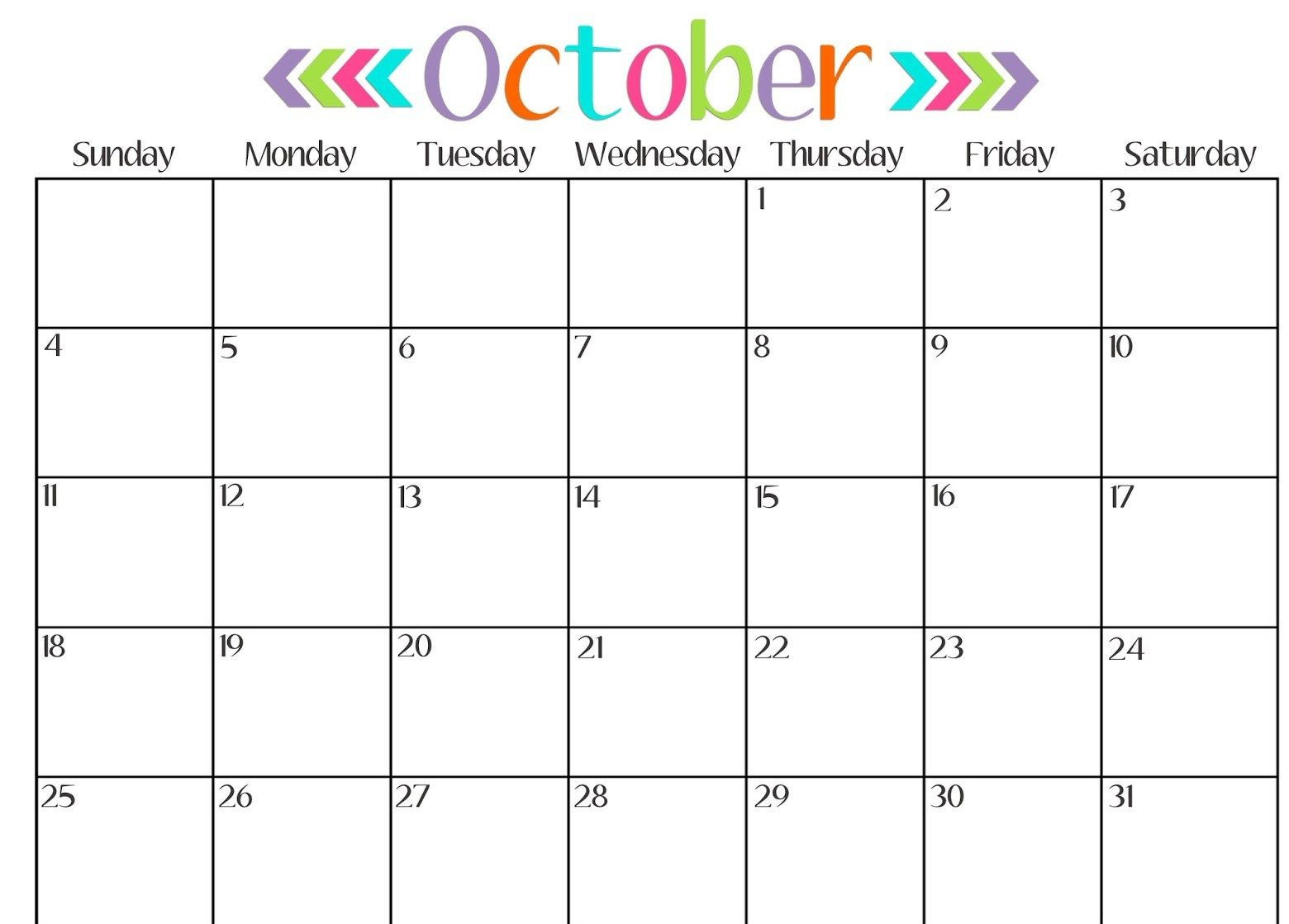 picture about Free Printable Calendars October referred to as Obtain Printable Calendar : Oct 2018 Printable Calendar