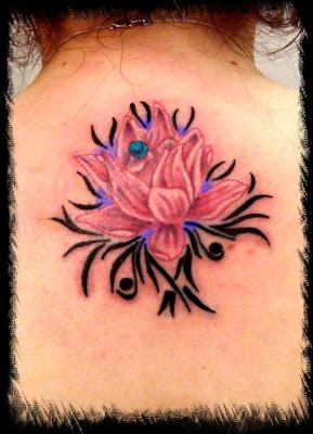 Tribal Lotus Women Tatttoo