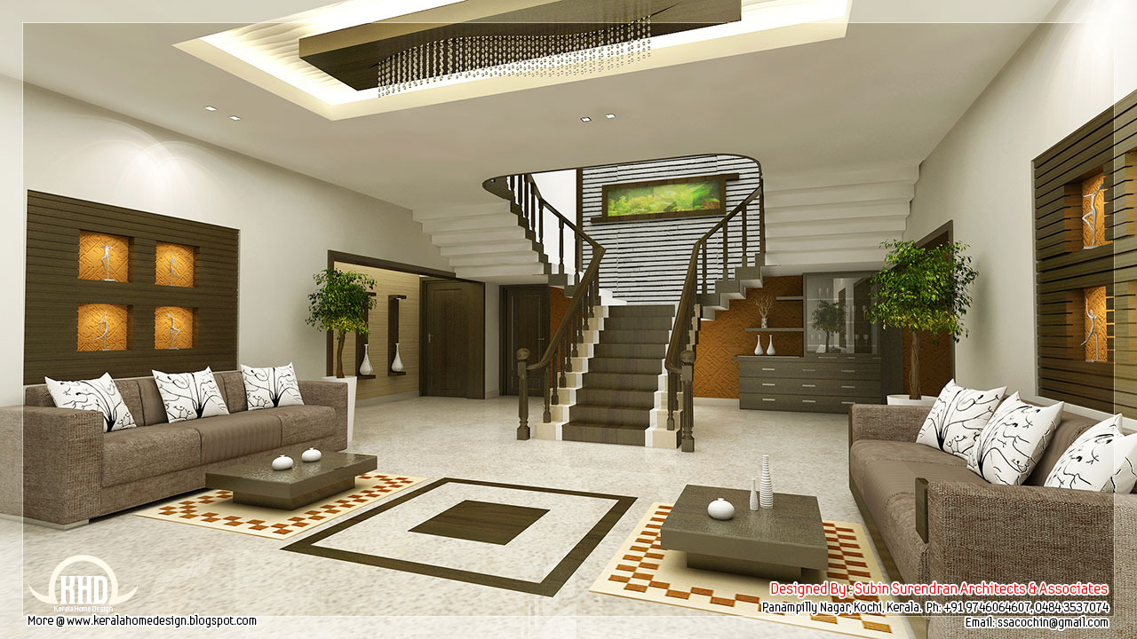 Awesome 3d interior renderings kerala house design for House living room ideas