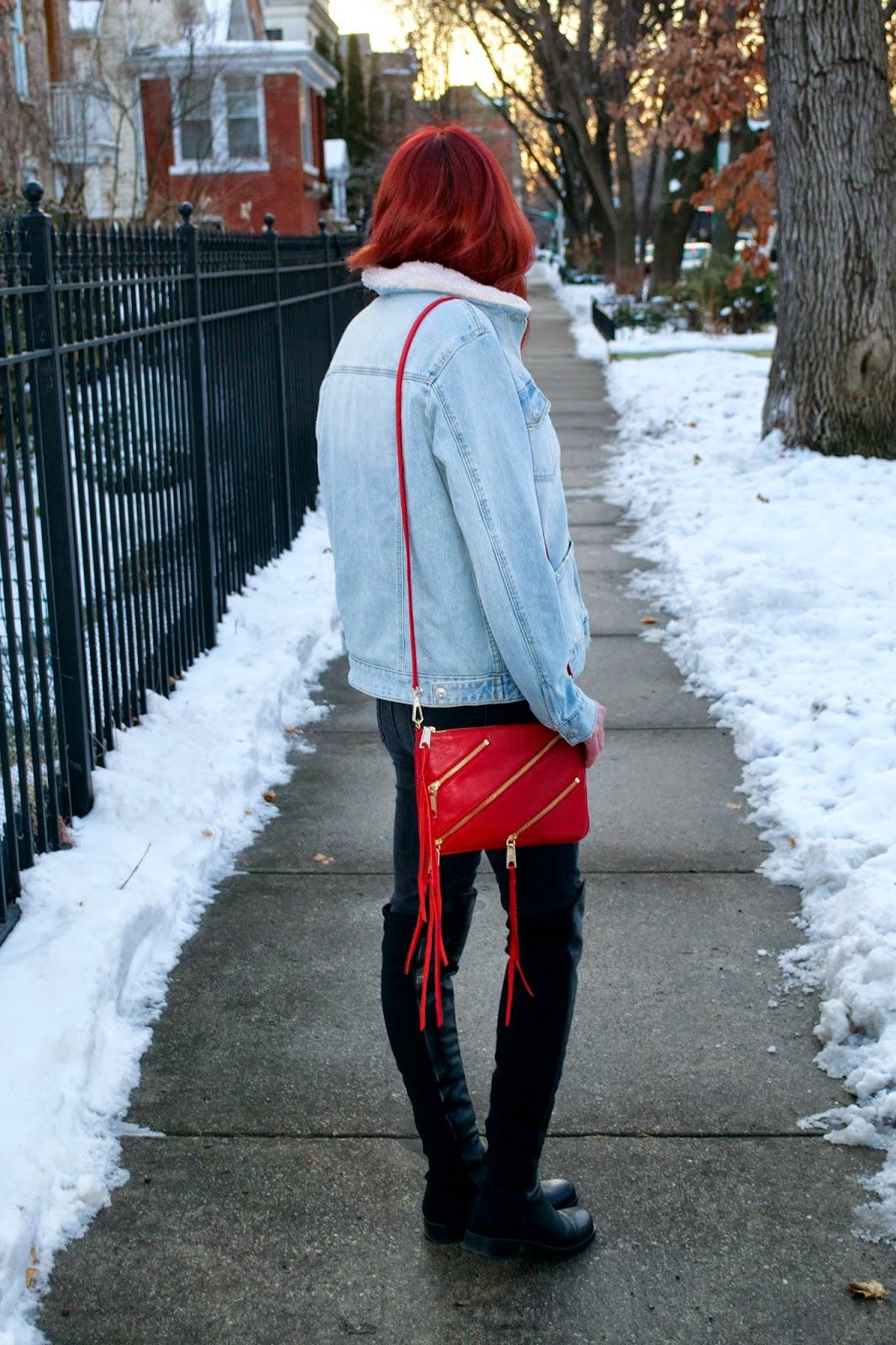 what i wore, Fashion Faves, depaul fashion, chicago fashion, rebecca minkoff rocker, topshop denim jacket, j brand jeans, stuart weitzman 5050,