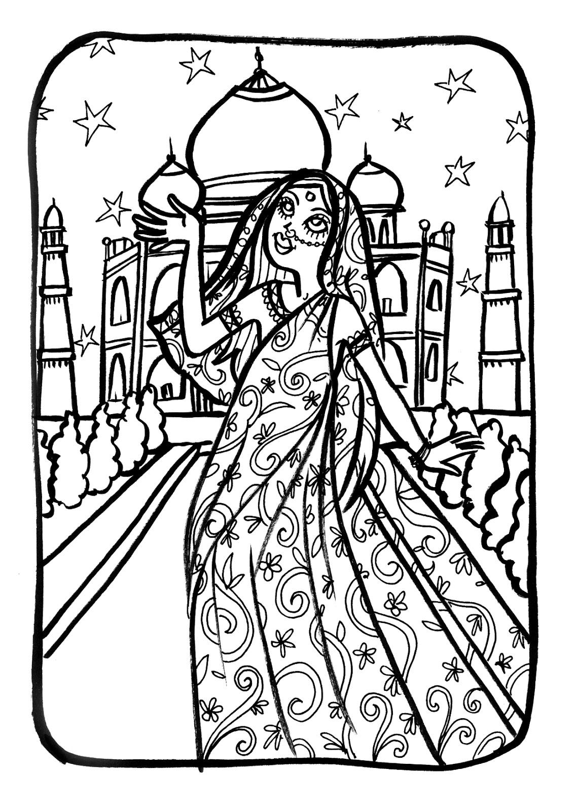 Marion de castillon coloriage du mercredi une princesse indienne - Coloriage inde ...