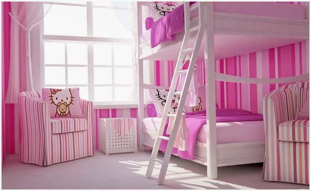 Desain Kamar Tidur Hello Kitty Lucu