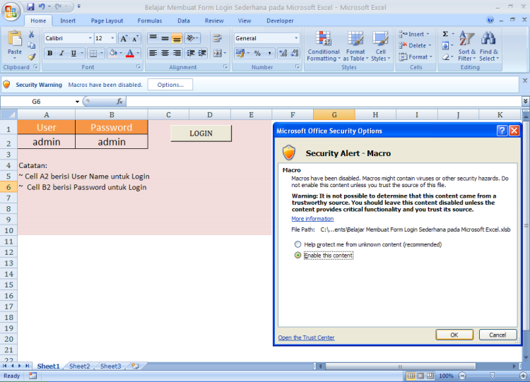 Enable Macro - Belajar Membuat Form Login Sederhana pada Microsoft Excel