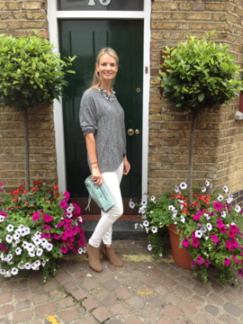 white jeans, balenciaga clutch, grey jumper, j brand, russell and bromley, chrissabella blog, street style
