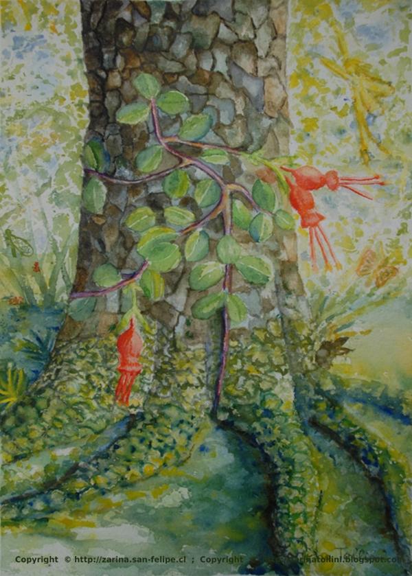 Cuadros pintados por zarina tollini de chile acuarela raices for Vendo papel pintado