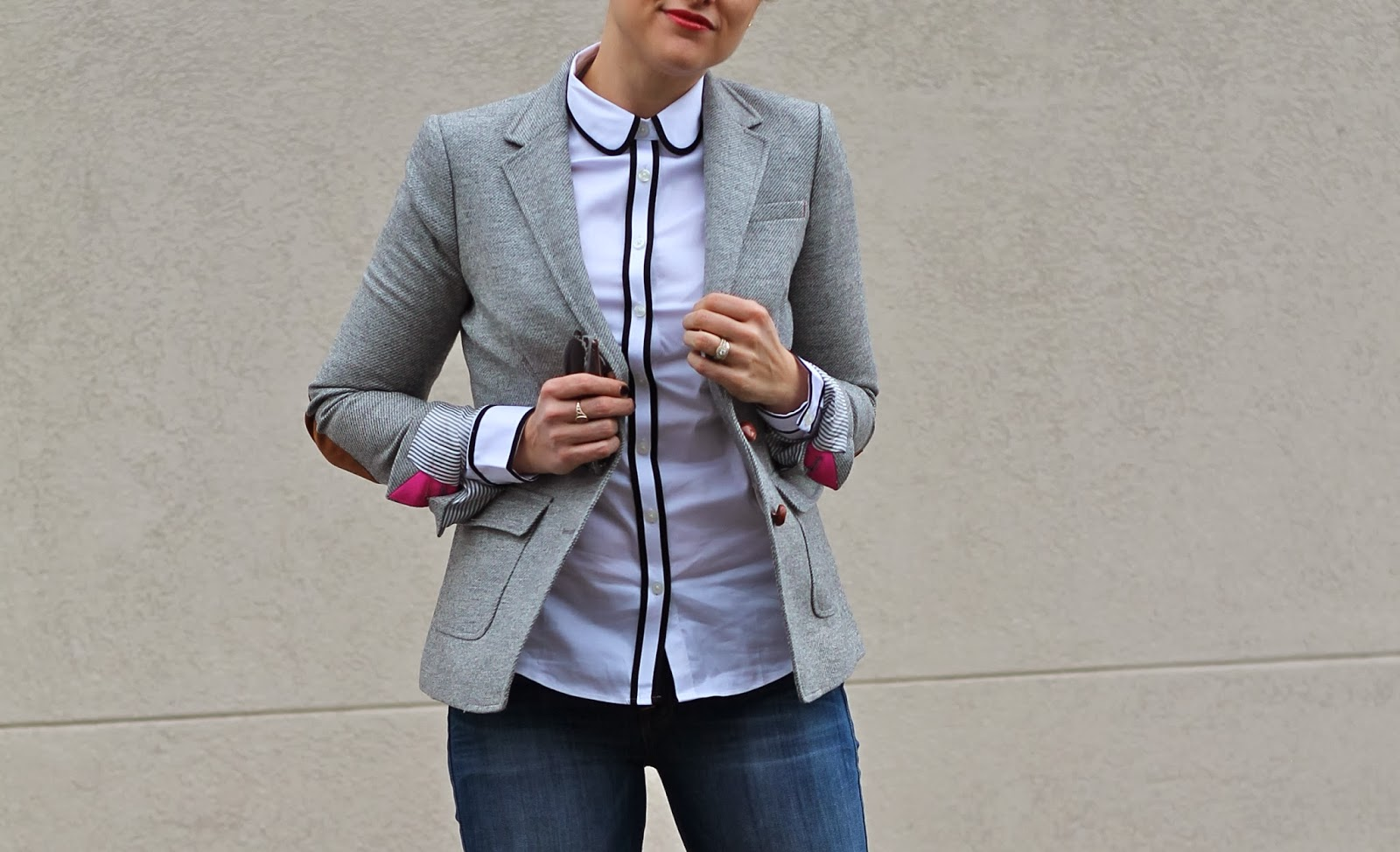 gray, elbow, patch, blazer