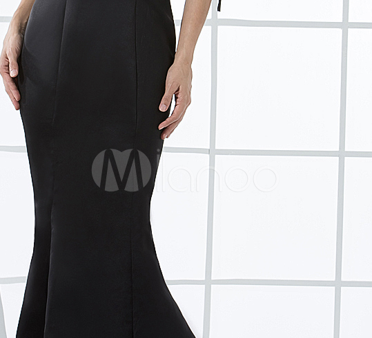 China Wholesale Dresses - Black Unique Sheath Satin Evening Gown