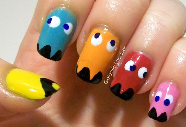 galactic lacquer pacman nail art