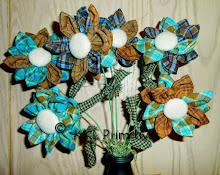 HOMESPUN FABRIC FLOWERS/BROWN & BLUE