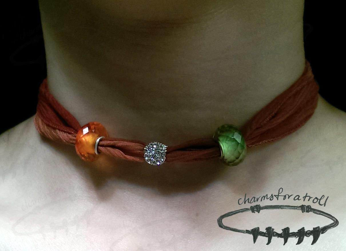 Novobeads Cinnamon Red Silk Wrap, Apricot Crystal, White & Clear Macaroon, Spring Green CZ