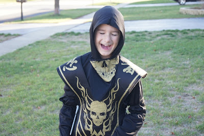 Mister Man giggling about his awesome skull ninja costume