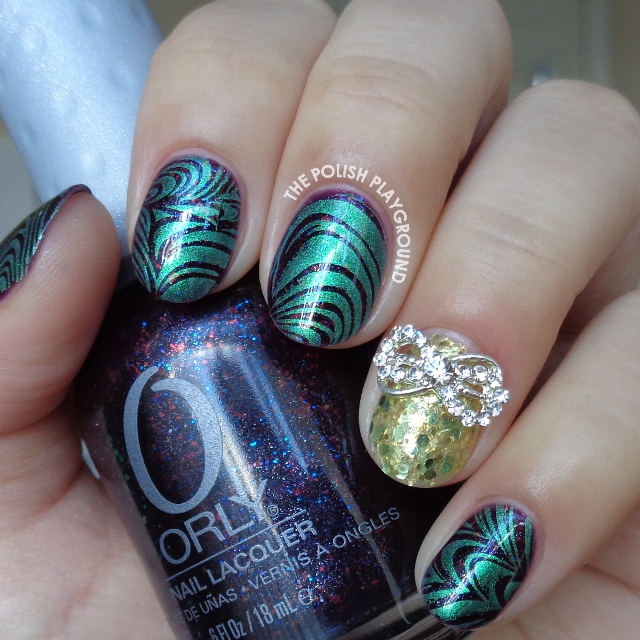 Shimmery Green Water Marble Inspired Stamping Nail Art