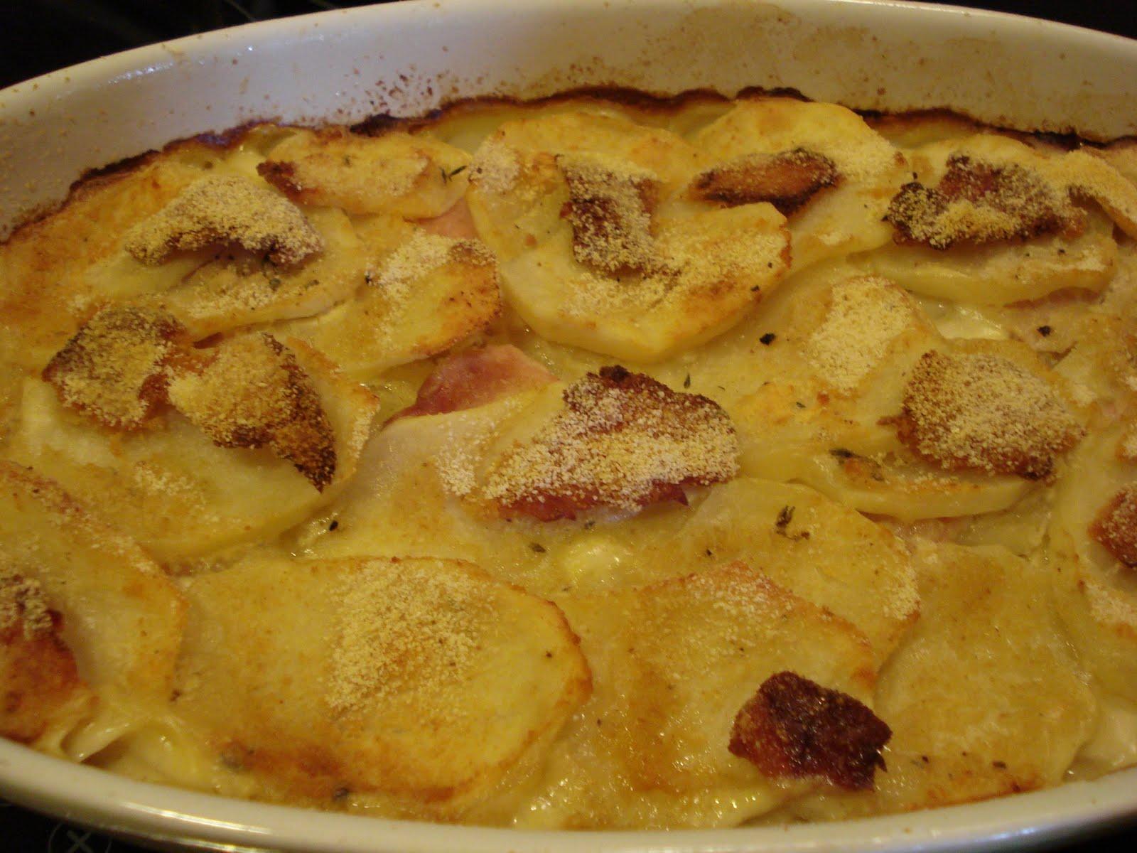 El guiso de mararia gratinado de lacon con patatas - Gratinado de patata ...