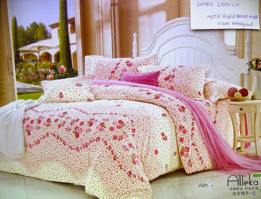 Sprei Jepang Motif Bunga Pink
