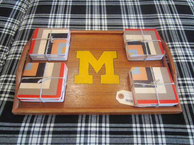 monogrammed wood tray and graphic patterned coasters