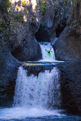 Mark Taylor enjoying the Siete Tazas, kayaker going over water fall in patagonia chile basalt rocks black rocks WhereIsBaer.com Chris Baer