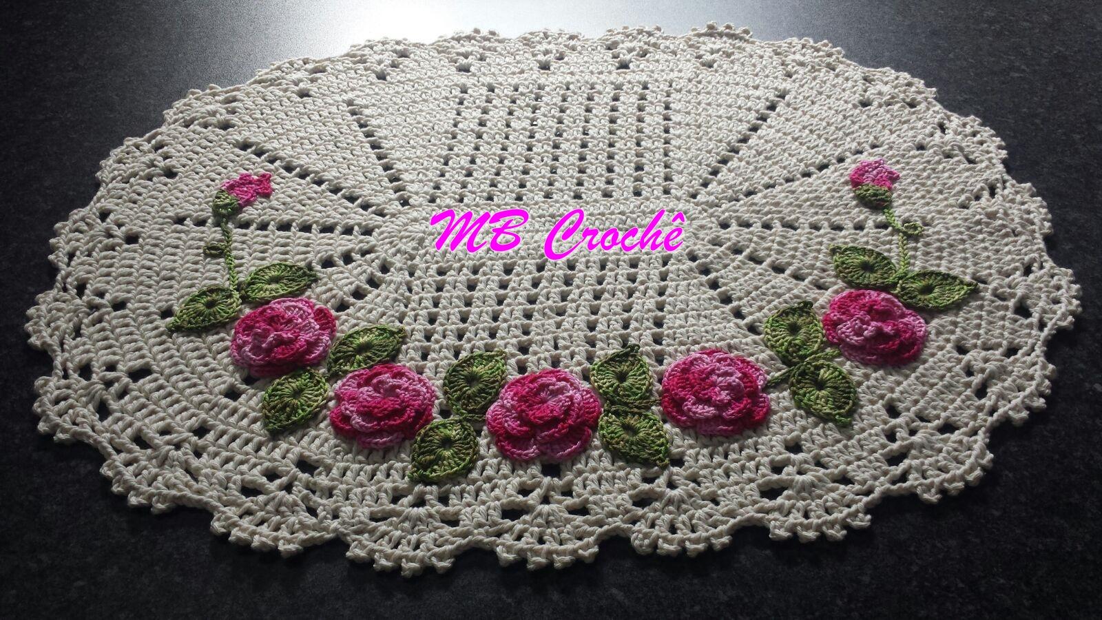 MB Crochê: Jogo de tapete para banheiro com flores aplicadas #C407C2 1600 900