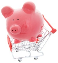 piggy bank in grocery cart