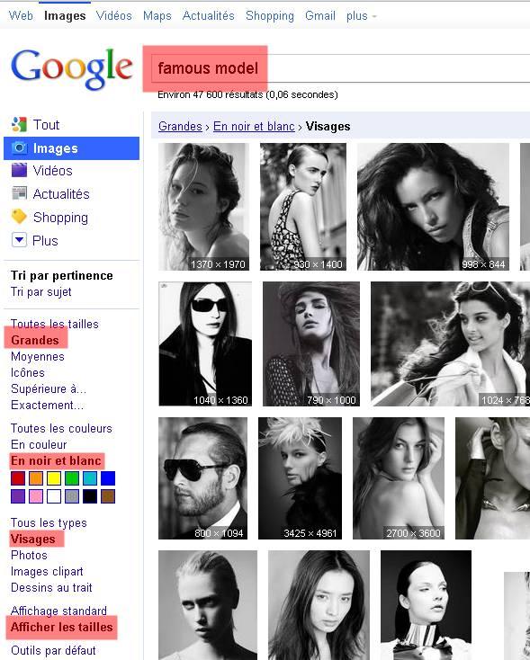 recherche de top modele sur google