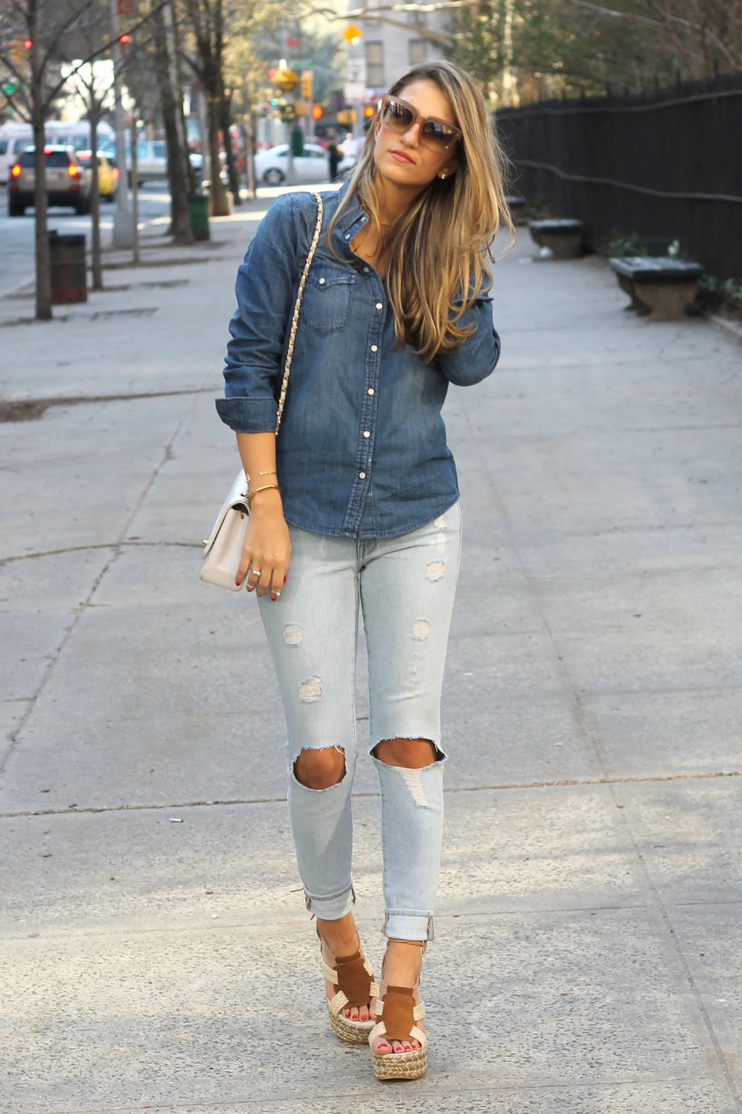 street style, ny blogger, denim on denim outfit, Frame Denim with Knee holes,  Free People High Society Platform Sandals
