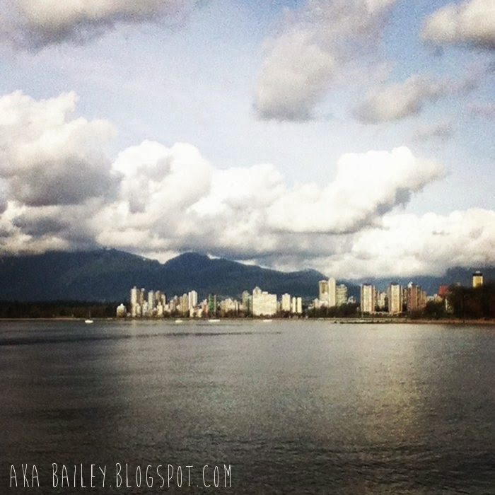 Downtown Vancouver skyline with mountains in background on a cloudy day