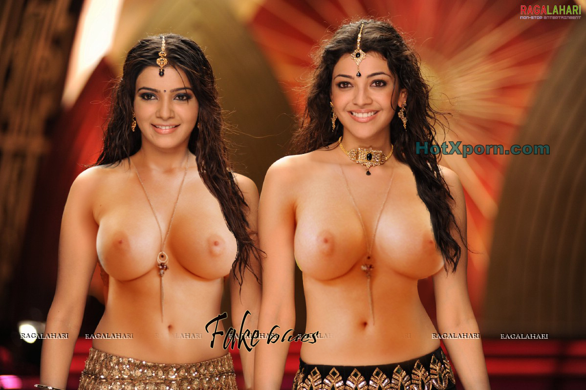 Hot Indian South Actresses Samantha and Kajal Agarwal Posing Nude and Showing Big white Boobs Fake
