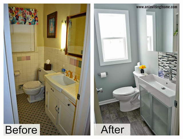 before and after of bathroom remodel