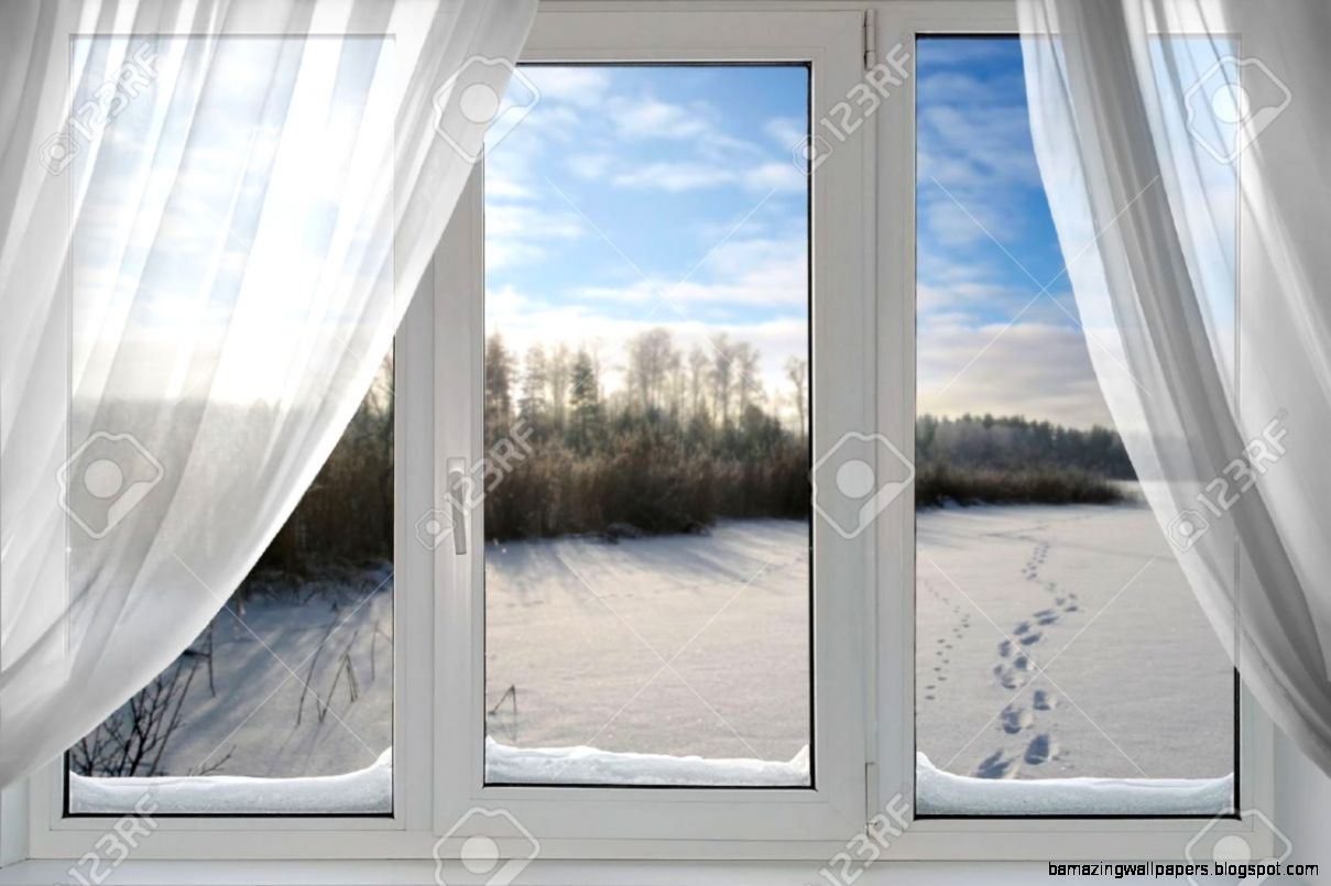 A Beautiful View Of Winter From The Window Stock Photo Picture