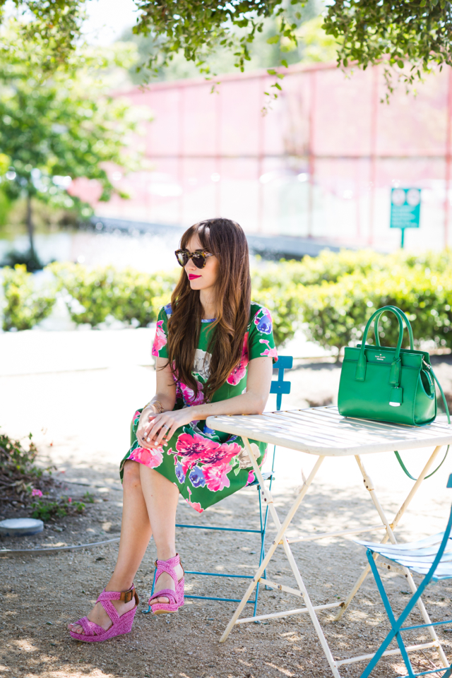 green floral print kate spade stelli dress and pink woven wedges on M Loves M fashion blogger @marmar