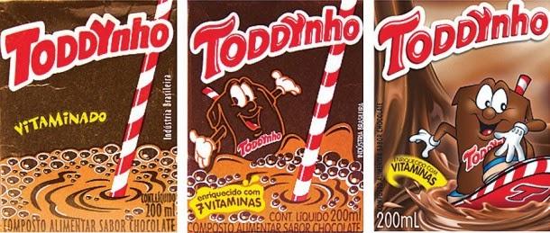 Evolução das embalagens do Toddynho
