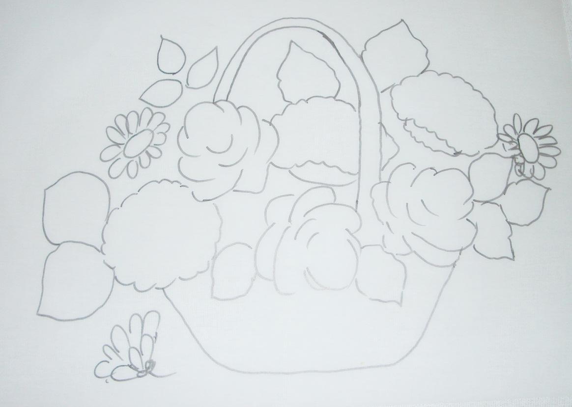 Pintura Em Tecido Risco De Flores Cesta