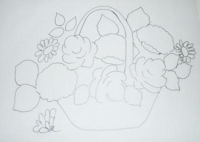 pintura em tecido risco cesta flores
