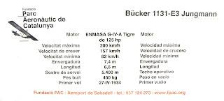 Característiques del Bücker Bü 1131 E-3 de l'FPAC.